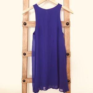 Mini purple sleeveless shift dress